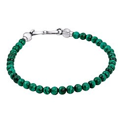 Малахитовый браслет Зелень пруда с серебряным замком-петлей