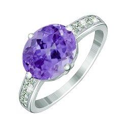 Серебряное кольцо с фиолетовым цирконием Эсперанта