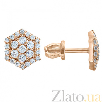 Серебряные серьги-пуссеты в позолоте с фианитами Camellia HUF--2985-З