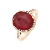 Кольцо в красном золоте Регина с синтезированным рубином и фианитами