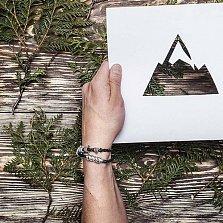 Кожаный браслет со словом Happy из серебра азбукой Морзе