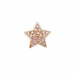 Серьга-пуссета из красного золота с фианитами 000134133