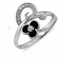 Кольцо из белого золота Зои с бриллиантами и эмалью