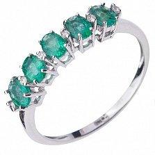Золотое кольцо Аванетта с изумрудами и бриллиантами