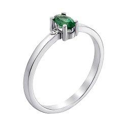 Кольцо из белого золота с изумрудом и бриллиантами 000131393