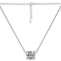 Серебряное колье с шармиком-шайбой и белыми фианитами 000102067