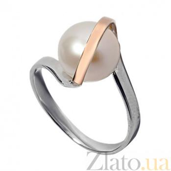 Серебряное кольцо с золотой вставкой и жемчугом Леди BGS--261к