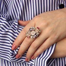 Серебряное кольцо Цветочная нежность с разноцветными фианитами и перламутром