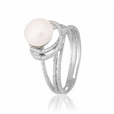Серебряное кольцо с жемчугом Ураган