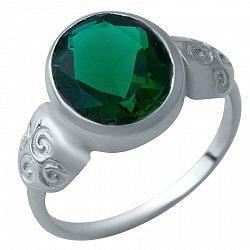 Серебряное кольцо Адонсия с синтезированным изумрудом