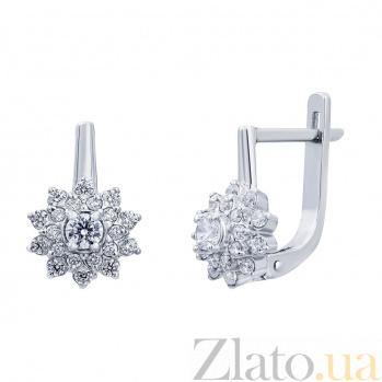 Серебряные серьги Снежинки с фианитами AUR-72783б