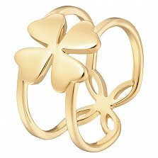Кольцо Клевер в желтом золоте