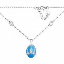 Серебряное колье с фианитами и голубой эмалью 000136293
