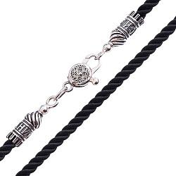 Рельефный шелковый шнурок Спаси и Сохрани с серебряной застежкой, 4мм 000042684