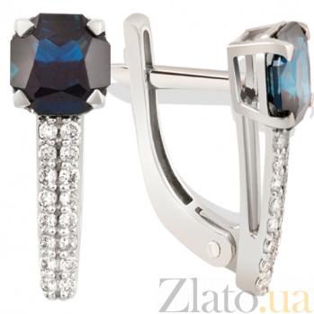 Золотые серьги с сапфирами и бриллиантами Тайна KBL--С2395