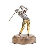 Серебряная статуэтка с позолотой Гольфист