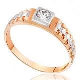 Золотое кольцо-печатка с фианитом Уильям