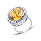 Серебряное кольцо с желтым кварцем Солнце в подарок
