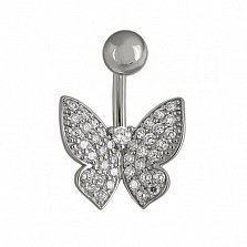 Пирсинг в белом золоте Парящая бабочка с фианитами