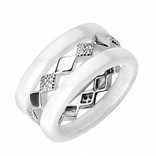 Серебряное кольцо Алекто с белой керамикой и фианитами