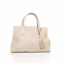 Кожаная сумка на каждый день Genuine Leather 8907 цвета какао с молоком, с декоративной кистью