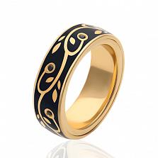 Обручальное кольцо Миртовая ветвь с черными эмалью и бриллиантами