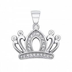 Серебряный кулон-корона с фианитами 000134857