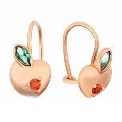 Позолоченные серебряные серьги с фианитами Райское яблочко
