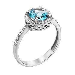 Кольцо из белого золота с голубым топазом и фианитами 000131257