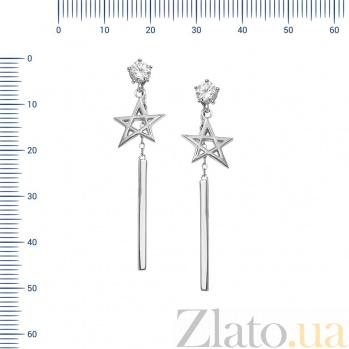 Серебряные серьги-подвески Милдрет с цирконием  000081952