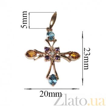 Золотой декоративный крест с топазами, цитринами, аметистами и бриллиантом Рим 000021540
