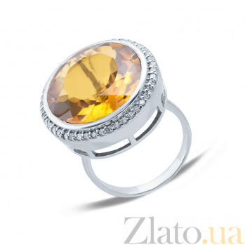 Серебряное кольцо с желтым кварцем Солнце в подарок AQA-R02445Qor