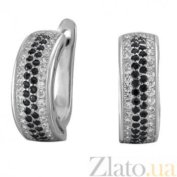 Серебряные серьги с цирконием Полярная ночь SLX--СК2ФО/373