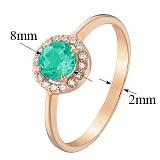 Золотое кольцо Ксения с хризопразом и фианитами