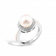 Серебряное кольцо Каролина с золотой накладкой, имитацией жемчуга и фианитами