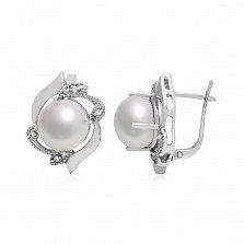 Серебряные серьги Морское сокровище с узорами, белыми жемчугом и цирконием