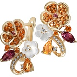 Золотые серьги с цитринами, родолитами, бриллиантами и перламутром Осенний каприз