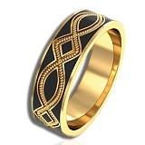 Золотое кольцо Радость жизни с черной эмалью