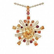 Золотой подвес с цитрином, топазами и бриллиантами Эстрелла