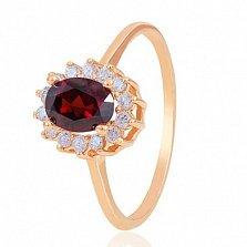 Золотое кольцо Синтия с гранатом и фианитами