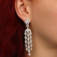 Серебряные серьги-люстры Анастасия с фианитами