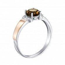 Серебряное кольцо с золотыми накладками, раухтопазом и фианитами 000134966