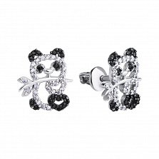 Серебряные серьги-пуссеты Мишка панда с черными и белыми фианитами