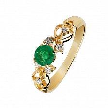 Золотое кольцо Мелиса с изумрудом и бриллиантами