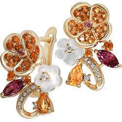 Золотые серьги с цитринами, родолитами, бриллиантами и перламутром Осенний каприз 000037893