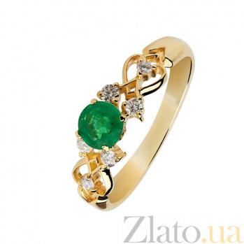 Золотое кольцо Мелиса с изумрудом и бриллиантами 000030355