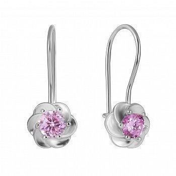 Срібні сережки з рожевими фіанітами 000114969