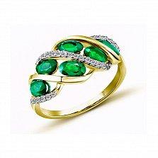 Кольцо в желтом золоте Бриджит с изумрудом и бриллиантами