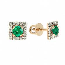 Золотые серьги с бриллиантами и изумрудами Шанталь