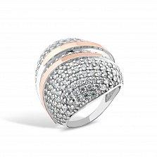 Серебряное кольцо Элизабетта с золотыми накладками и фианитами